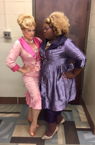 Gaelen Gilliland (Velma Von Tussle) and Altamiece Cooper (Motormouth Maybelle) in Hairspray at Music Theatre Wichita