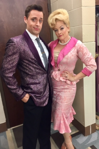 Adam Kaplan (Link Larkin) and Gaelen Gilliland (Velma Von Tussle) in Hairspray at Music Theatre Wichita