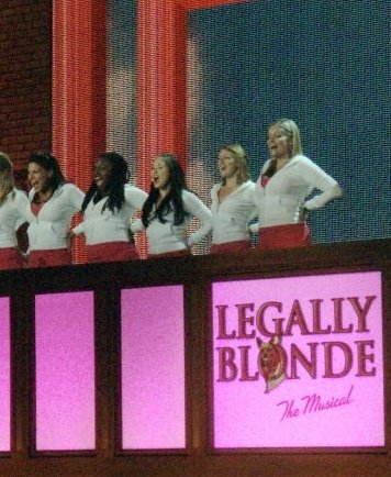 Gaelen Gilliland performing with the cast of Legally Blonde at the Tony Awards